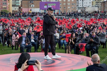 Leader of socialist party Edi Rama adresses his supporters during a closing political rally in city of Durres, Albania on .Albania holds parliamentary elections on Sunday amid the virus pandemic and a bitter political rivalry between the country's two largest political parties but that will serve as a key milestone in the country's next step toward European Union membership