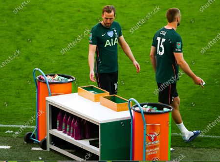 Stock Picture of Dejection for Harry Kane & Eric Dier of Tottenham Hotspur as they collect their runners up medals
