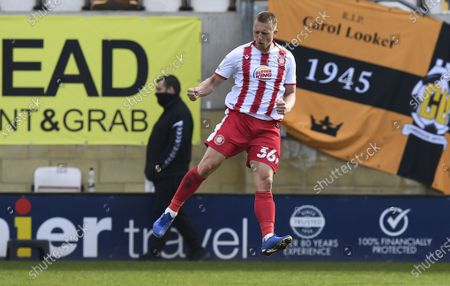 Stock Image of Luke Norris of Stevenage celebrates after scoring a goal (0-1)