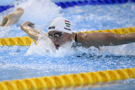 Stock Image of Three-times olympic winner Katinka Hosszu of Hungary in action during women's 400 meters Medley during the Helsinki Swim Meet competition in Helsinki, Finland on Friday, 23rd April, 2021.