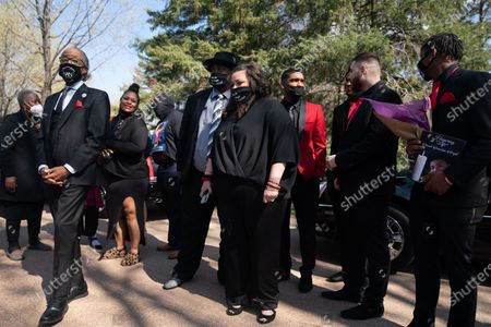 Editorial picture of Family member and community members attend a public viewing viewing service of Daunte Wright, Minneapolis, Mn, United States - 22 Apr 2021