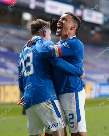 Rangers Captain James Tavernier celebrates with team mate Scott wright after scoring in the dying minutes of extra-time to give Rangers a 1-0 lead