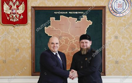 Russian Prime Minister Mikhail Mishustin (L) and the Chechen Republic Head Ramzan Kadyrov (R) during their meeting in Grozny, the Chechen Republic, Russia, 23 April 2021.