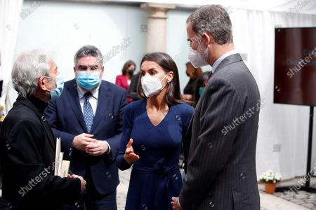 Stock Photo of Kings Felipe and Letizia talk with actor Jose Sacristan (L) in the presence of the Minister of Culture and Sports, José Manuel Uribes (CL), during the act that takes place this Friday in the headquarters of the Instituto Cervantes de Alcalá de Henares on the occasion of the celebration of International Book Day in Alcala de Henares near Madrid on April 23, 2021.
