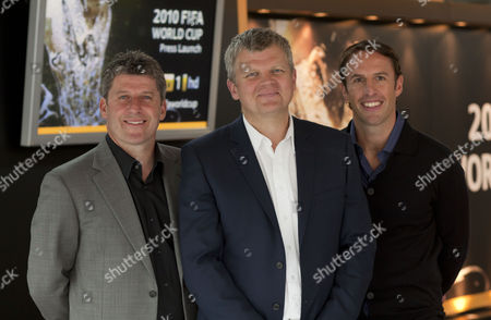 Adrian Chiles at today's launch with Andy Townsend and Gareth Southgate