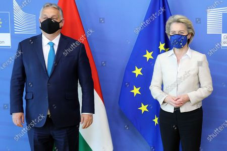 Hungarian Prime Minister Viktor Orban is welcomed by European Commission President Ursula von der Leyen in the Berlaymont building at the EU headquarters in Brussels, Belgium, 23 April 2021.
