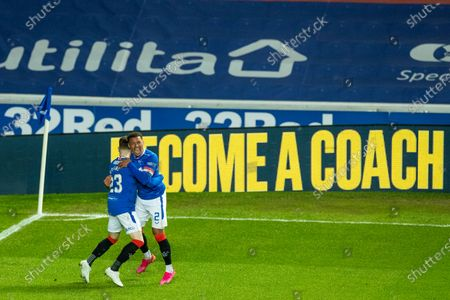Rangers captain James Tavernier celebrates his goal with Scott Wright during the Scottish Cup quarter final match at Ibrox Stadium, Glasgow.