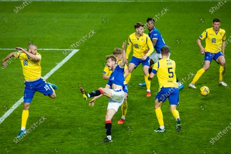 Filip Helander of Rangers jumps for the ball during the Scottish Cup quarter final match at Ibrox Stadium, Glasgow.