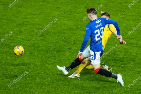 Scott Wright of Rangers shots is saved by St Johnstone goalkeeper Zander Clark during the Scottish Cup quarter final match at Ibrox Stadium, Glasgow.