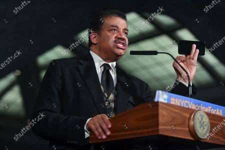 Neil deGrasse Tyson speaks during a press conference at the American Museum of Natural History in New York