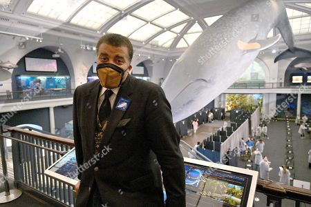 Neil deGrasse Tyson at the American Museum of Natural History during the of the museum's opening as a mass vaccination site in New York.