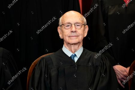 Associate Justice Stephen Breyer sits during a group photo of the Justices at the Supreme Court in Washington, DC, USA, 23 April 2021.