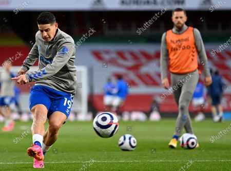 Everton's James Rodriguez kicks the ball during a warm up before the English Premier League soccer match between Arsenal and Everton at the Emirates stadium in London