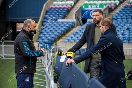 Edinburgh vs Zebre. Zebre head coach Michael Bradley chats with Premier Sports' Jim Hamilton and Chris Paterson before the game