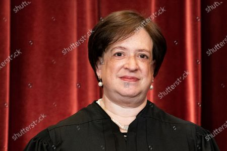 Associate Justice Elena Kagan stands during a group photo of the Justices at the Supreme Court in Washington, DC on Friday, April 23, 2021.   Pool photo by Erin Schaff/UPI