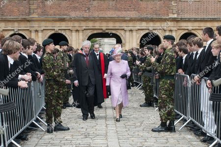 Stock Image of Queen Elizabeth II with the Provost William Waldegrave