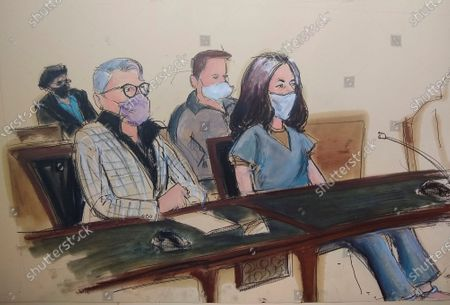 Stock Picture of In this courtroom sketch, Ghislaine Maxwell, far right, appears in Manhattan Federal court seated next to her attorney Bobbi C. Sternheim, second from left, along with her sister Isabel Maxwell, far left, during her arraignment on a superceding indictment, in New York. Maxwell, a British socialite and one-time girlfriend of Epstein, pleaded not guilty to sex trafficking conspiracy and an additional sex trafficking charge that were added in a rewritten indictment released last month by a Manhattan federal court grand jury. The new indictment stretched the timespan of the charges from three years to a decade
