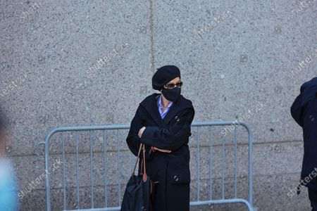 Stock Image of Isabel Maxwell, sister of Jeffrey Epstein's associate Ghislaine Maxwell, arrives at Federal Court, in New York. Ghislaine Maxwell, a British socialite and one-time girlfriend of Epstein, pleaded not guilty to sex trafficking conspiracy and an additional sex trafficking charge that were added in a rewritten indictment released last month by a Manhattan federal court grand jury