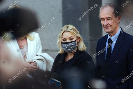 Stock Photo of Accuser Danielle Bensky, center, with attorney David Boies, speaks following Ghislaine Maxwell's appearance in Federal Court, in New York. Ghislaine Maxwell, a British socialite and one-time girlfriend of Epstein, pleaded not guilty to sex trafficking conspiracy and an additional sex trafficking charge that were added in a rewritten indictment released last month by a Manhattan federal court grand jury