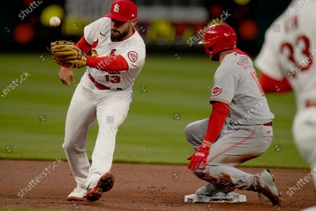 Stock Picture of Cincinnati Reds' Nick Senzel, right, is safe at second for a double as St. Louis Cardinals second baseman Matt Carpenter reaches for the throw during the second inning of a baseball game, in St. Louis