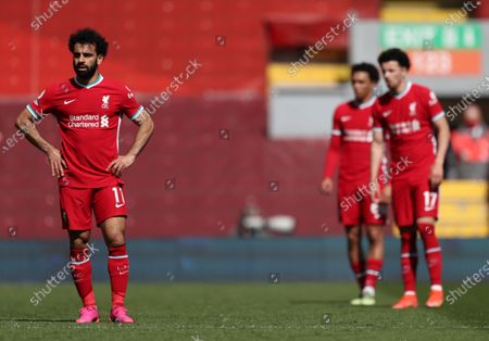 Trent Alexander-Arnold of Liverpool with team mates Mohammed Salah and Curtis Jones look depressed as Newcastle level the game; Anfield, Liverpool, Merseyside, England; English Premier League Football, Liverpool versus Newcastle United.