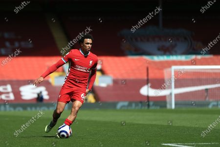Trent Alexander-Arnold of Liverpool controls the ball; Anfield, Liverpool, Merseyside, England; English Premier League Football, Liverpool versus Newcastle United.