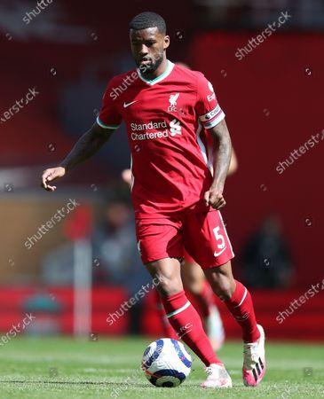 Georginio Wijnaldum of Liverpool runs with the ball; Anfield, Liverpool, Merseyside, England; English Premier League Football, Liverpool versus Newcastle United.