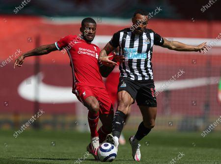 Georginio Wijnaldum of Liverpool is tackled by Callum Wilson of Newcastle United; Anfield, Liverpool, Merseyside, England; English Premier League Football, Liverpool versus Newcastle United.