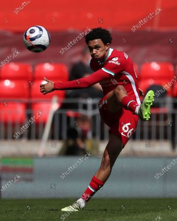 Trent Alexander-Arnold of Liverpool plays long pass; Anfield, Liverpool, Merseyside, England; English Premier League Football, Liverpool versus Newcastle United.