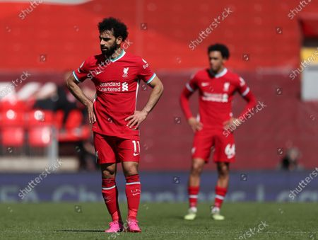 Mohammed Salah and Trent Alexander-Arnold of Liverpool; Anfield, Liverpool, Merseyside, England; English Premier League Football, Liverpool versus Newcastle United.