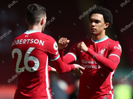 full backs Andy Robertson of Liverpool and Trent Alexander-Arnold of Liverpool fist bump prior to the kick off; Anfield, Liverpool, Merseyside, England; English Premier League Football, Liverpool versus Newcastle United.
