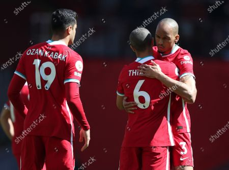 Thiago Alcantara of Liverpool hugs team mate Fabinho prior to the kick off; Anfield, Liverpool, Merseyside, England; English Premier League Football, Liverpool versus Newcastle United.