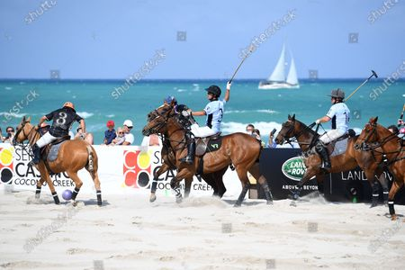 Nicolas Roldan of team GFI plays during The World Polo League Beach Polo
