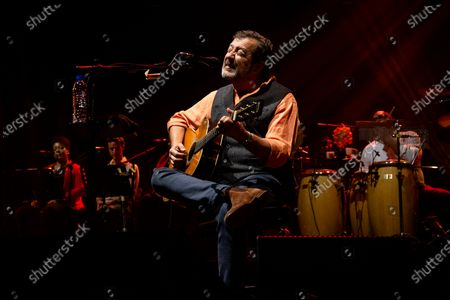 Stock Picture of Portuguese singer Rui Veloso participates in the first concert, after the 3 reopening phase due to the covid-19, held at the Superbock Arena, on April 23, 2021, in Porto, Portugal.