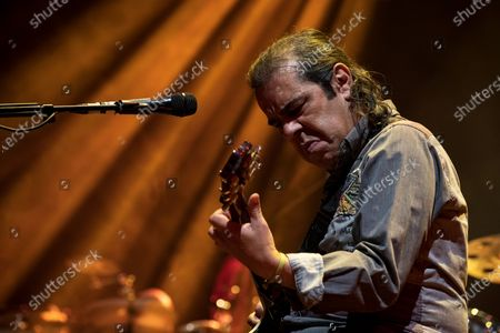 Alexandre Manaia guitarist for Portuguese singer Rui Veloso participates in the first concert, after the 3rd phase of reopening due to the covid-19, held at the Superbock Arena, on April 23, 2021, in Porto, Portugal.