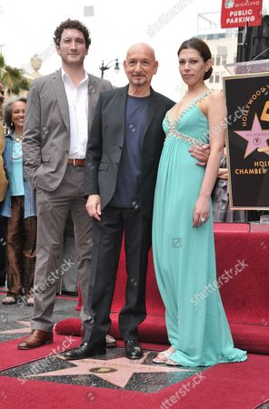 Sir Ben Kingsley, son Edmund and wife Daniela Lavender