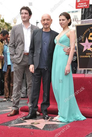 Sir Ben Kingsley, son Edmund and wife Daniela