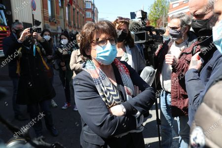 """Stock Picture of Lille's Socialist Party (PS) Mayor Martine Aubry speaks to the press during a visit of French Interior Minister (unseen) to Lille-Litre Fire and Rescue Center in Lille, Northern France, on April 23, 2021, a day after firefighters were targeted during an intervention for the fire in a school.  Fire tore through a part of the Beranger-Hachette nursery school in a working class area of Lille on the evening of April 22, according to firefighters, and which the city's mayor has condemned a """"voluntary"""" fire. According to to the emergency services, it is residents who called them around 20:15, claiming to have seen people entering the school, then to have seen smoke coming out of it. People fired works in the direction of fireters once on the scene, according to the same source."""