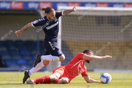Stock Image of Ricky Holmes of Southend United and Nick Freeman of Leyton Orient in action during Sky Bet League Two match between Southend United and Leyton Orient  at Roots Hall in Southend - 24th April 2021