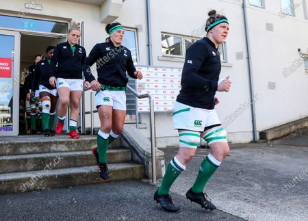 Ireland Women vs Italy Women. Ireland's Ciara Griffin, Lindsay Peat and Cliodhna Moloney come out onto the pitch ahead of the game