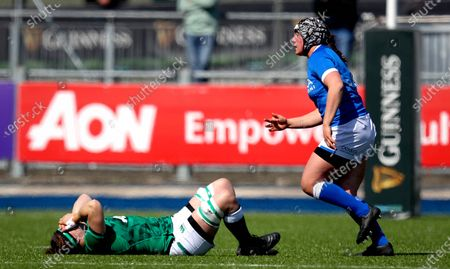 Ireland Women vs Italy Women. Ireland's Ciara Griffin down injured