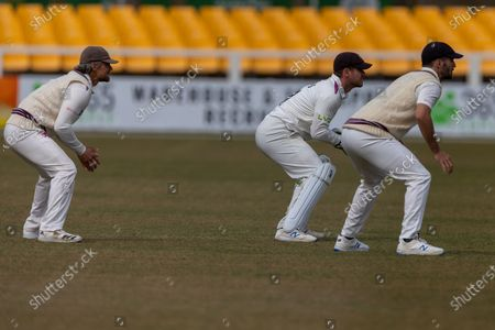 Stock Photo of Steven Davies 7 the Somerset slip cordon during day 3 of the LV= Insurance County Championship match between Leicestershire County Cricket Club and Somerset County Cricket Club at the Uptonsteel County Ground, Leicester