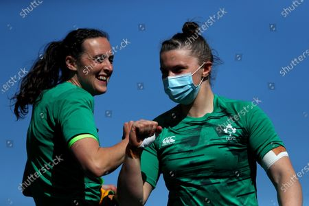 Ireland Women vs Italy Women. Ireland's Hannah Tyrrell and Ciara Griffin before the game