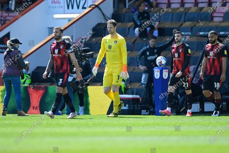 AFC Bournemouth Captain Steve Cook leads his team out during AFC Bournemouth vs Brentford, Sky Bet EFL Championship Football at the Vitality Stadium on 24th April 2021