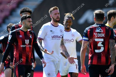 Pontus Jansson of Brentford middle pleads his innocence to Steve Cook of AFC Bournemouth after a heavy tackle during AFC Bournemouth vs Brentford, Sky Bet EFL Championship Football at the Vitality Stadium on 24th April 2021