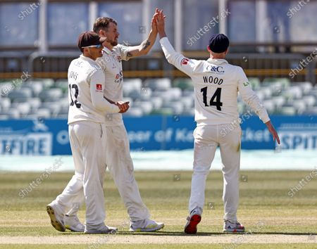 Tom Bailey (2nd L) of Lancashire is congratulated after bowling Ollie Robinson during Kent CCC vs Lancashire CCC, LV Insurance County Championship Group 3 Cricket at The Spitfire Ground on 24th April 2021
