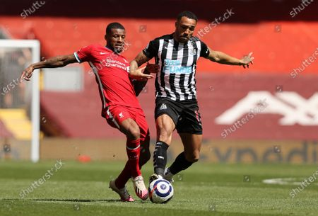 Liverpool's Georginio Wijnaldum, left, challenges for the ball with Newcastle's Callum Wilson during the English Premier League soccer match between Liverpool and Newcastle United at Anfield stadium in Liverpool, England