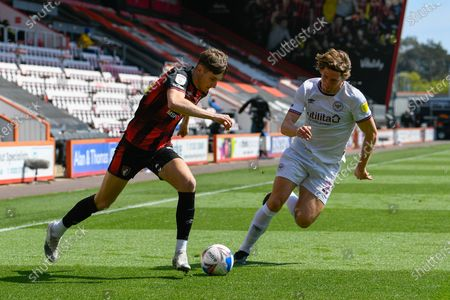 David Brooks (7) of AFC Bournemouth on the attack chased by Mads Bech Sorensen (29) of Brentford during the EFL Sky Bet Championship match between Bournemouth and Brentford at the Vitality Stadium, Bournemouth