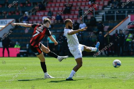 David Brooks (7) of AFC Bournemouth shoots at goal during the EFL Sky Bet Championship match between Bournemouth and Brentford at the Vitality Stadium, Bournemouth