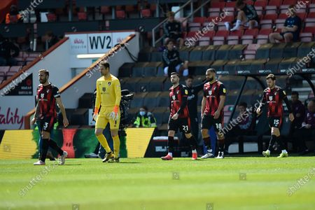 Steve Cook (3) of AFC Bournemouth leads the Bournemouth players out ahead of kickoff during the EFL Sky Bet Championship match between Bournemouth and Brentford at the Vitality Stadium, Bournemouth